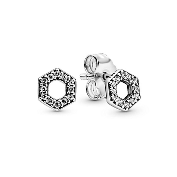 PANDORA CZ Sparkling Honeycomb Hexagon Earrings